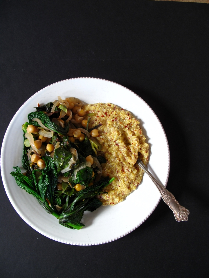 Polenta with Lemon-Garlic Raab + Chickpeas