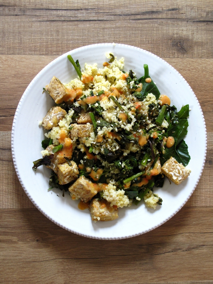Sprouting Broccoli, Za'atar, Tempeh, + Harissa Yogurt