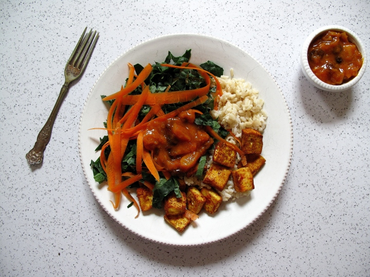 Curried Tofu and Apricot Chutney with Basmati Rice