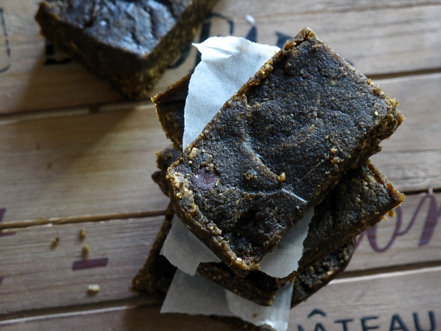chocolate energy bars, 2 ways: coconut mocha & chocolate, peanut butter + sea salt
