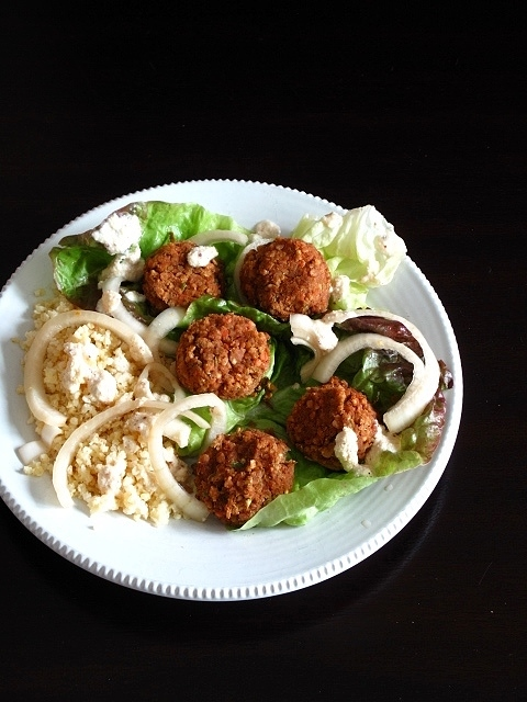 Red Lentil Falafel with Millet, Lemon Ginger Dressing + Quick-Pickled Onions