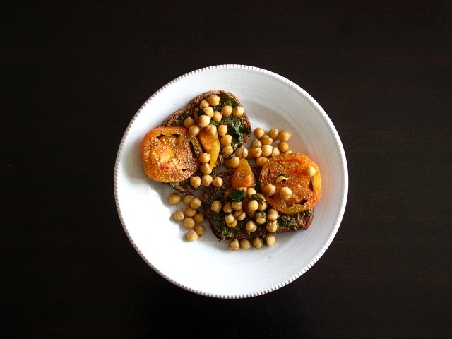 israeli spiced tomatoes + pesto beans on toast